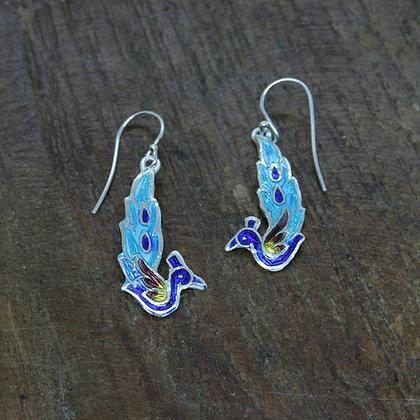 Peacock Enamel Earrings