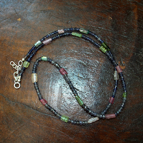 Tourmaline and Iolite Beaded Necklace