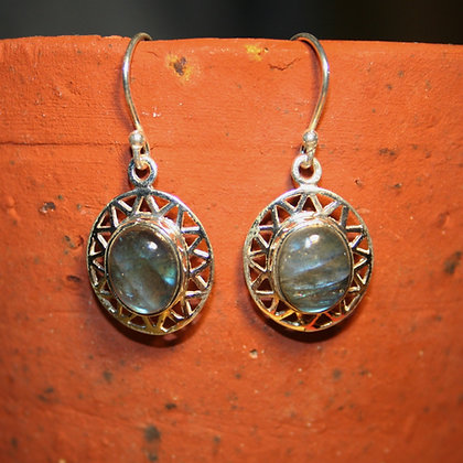 Labradorite Earrings with Triangular Cut Detail