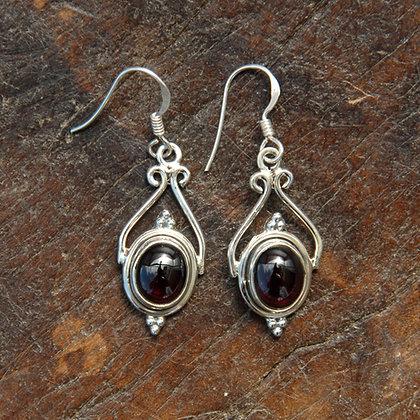 Garnet Twirl Earrings
