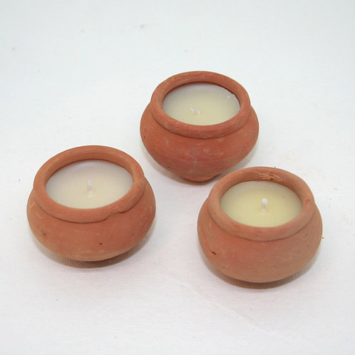 Scented Candle in Clay Pot