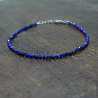 Faceted Lapis Lazuli Beaded Bracelet