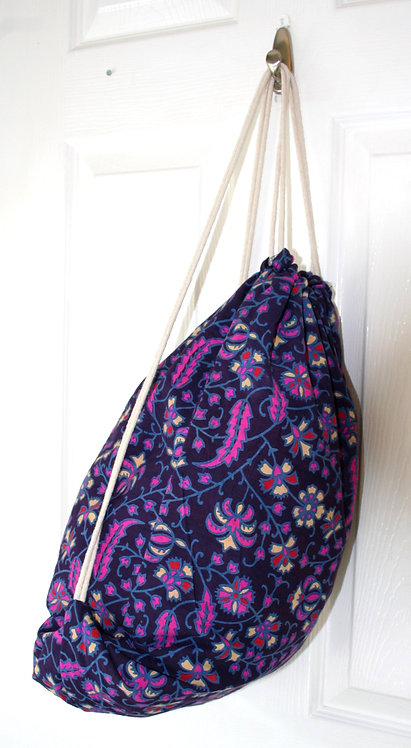 Purple Cotton Drawstring Backpack