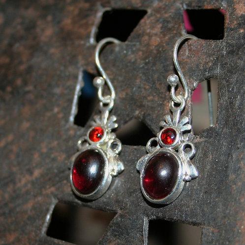 Detailed Double Garnet Earrings