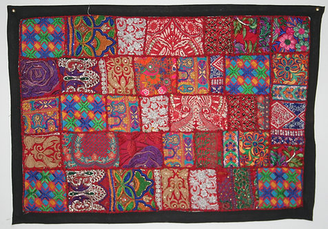 Red Patchwork Wall Hanging Small