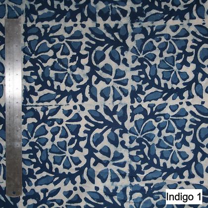 Indigo Fabric by the Metre - Hand Block Printed Cotton