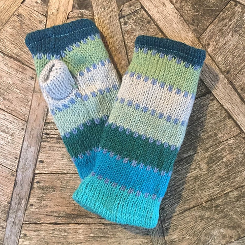 Blue and Green Fleece Lined Woollen Fingerless Gloves
