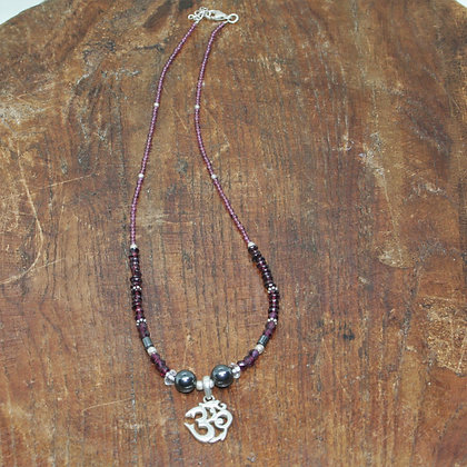 Garnet and Hematite Beaded Necklace with Om Pendant
