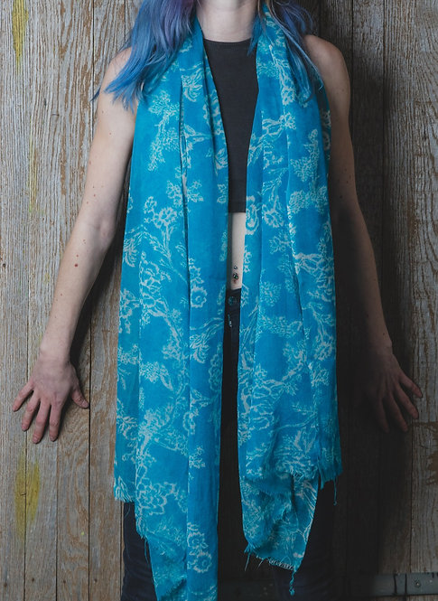 Floral Turquoise Wool Scarf