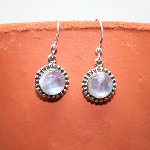 Detailed Rainbow Moonstone Earrings