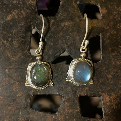 Labradorite Earrings with Twisted Wire Wrap Detail