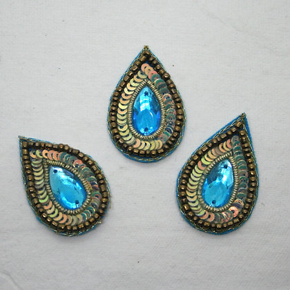 Blue and Gold Embroidered Flower Embellishment