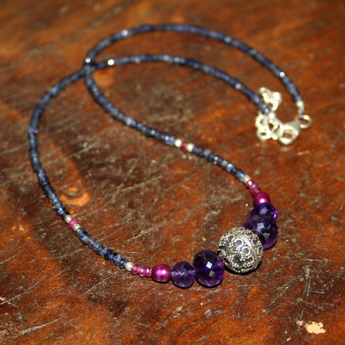 Antique bead, Amethyst and Iolite Necklace