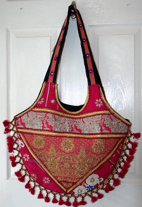 Pink Round Tassel Patchwork Bag