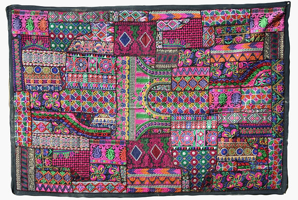 Pink on Black Patchwork Wall Hanging Large