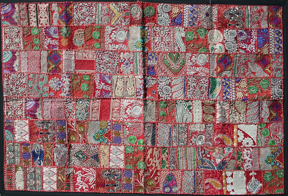 Red Patchwork Wall Hanging Large