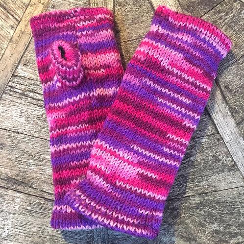 Pink Stripe Fleece Lined Woollen Fingerless Gloves