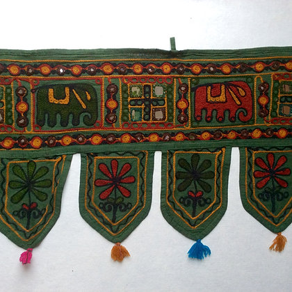 Green Embroidered Elephant Toran