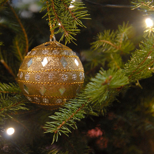 Mirror Christmas Bauble Gold