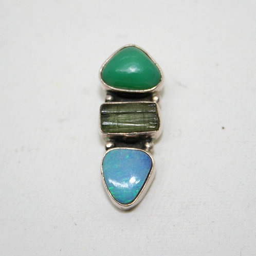 Opal, Chrysoprase and Tourmaline Pendant