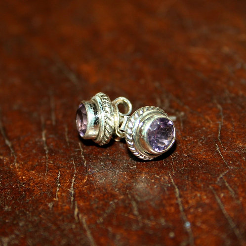 Faceted Amethyst Studs