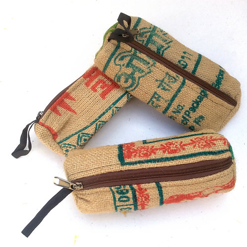 Up-cycled Jute Pencil Case