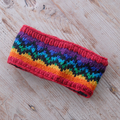 Knitted Woollen Headband Rainbow