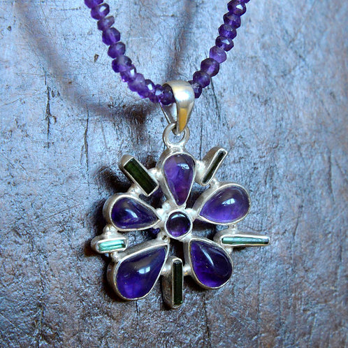 Amethyst and Tourmaline Flower Pendant