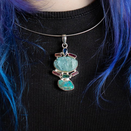 Opal, Aquamarine and Tourmaline Pendant
