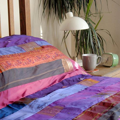 Purple Sari Bedspread Single