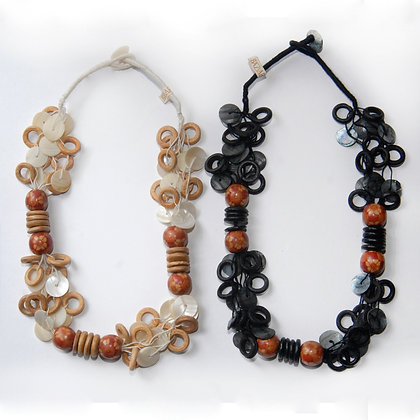 Chunky Wood and Shell Necklace