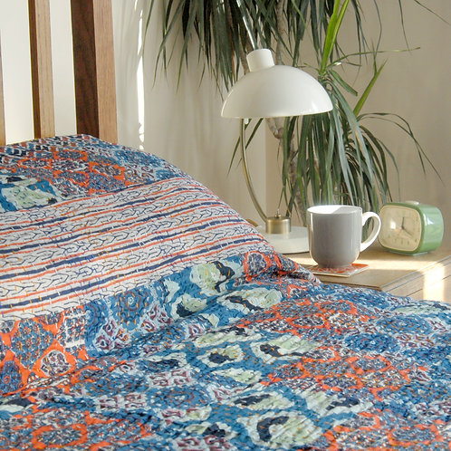 Orange and Blue Patchwork Bedspread Double