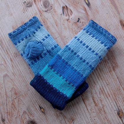 Fleece Lined Woollen Fingerless Gloves Light Blue Stripes