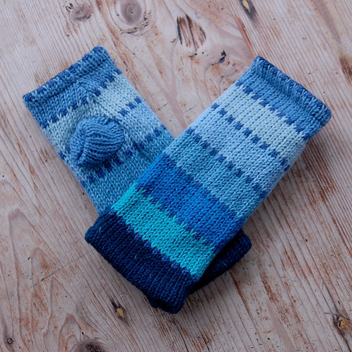 Knitted Fingerless Gloves Light Blue Stripes