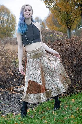 Gold Embroidered Vintage Sari Skirt Short
