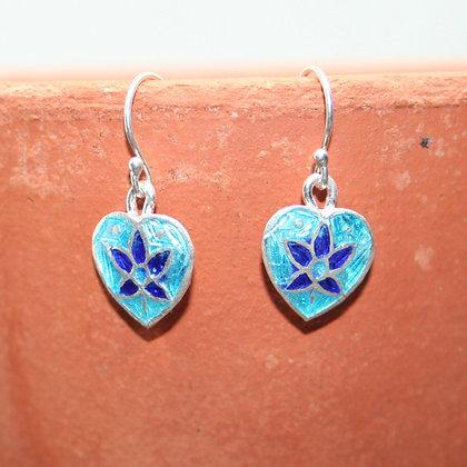 Navy Leaf on Turquoise Heart Enamel Earrings