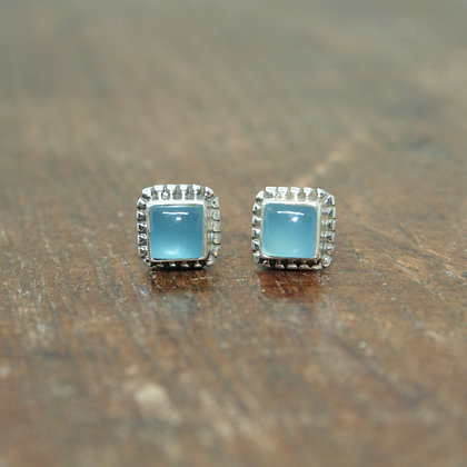 Detailed Square Chalcedony Studs