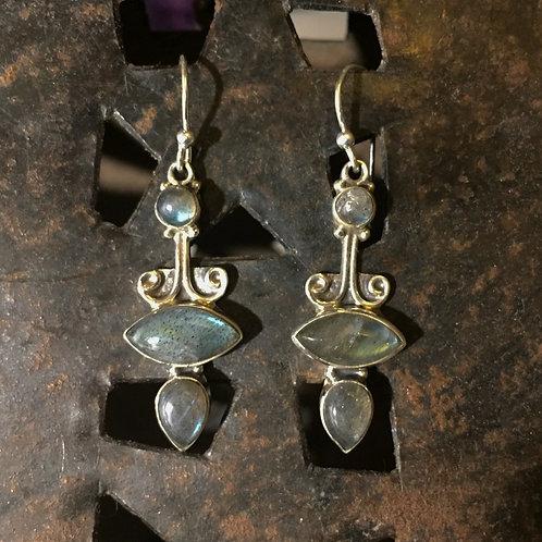 Traditional Swirl Labradorite Drop Earrings