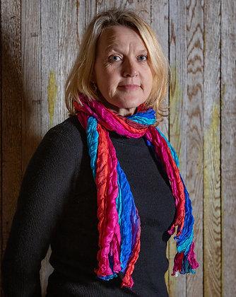 Bright Multi Coloured Silk Ruffle Scarf