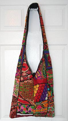 Red on Black Patchwork Bag
