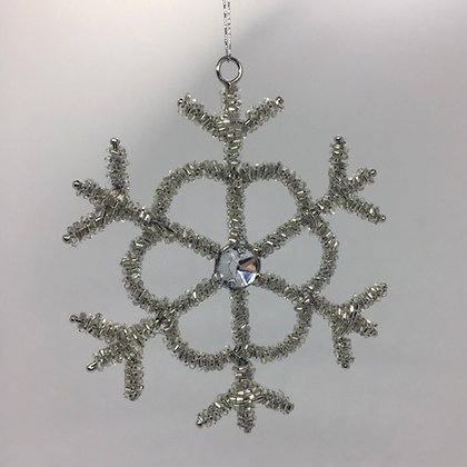 Silver Sequin Snowflake Christmas Decoration