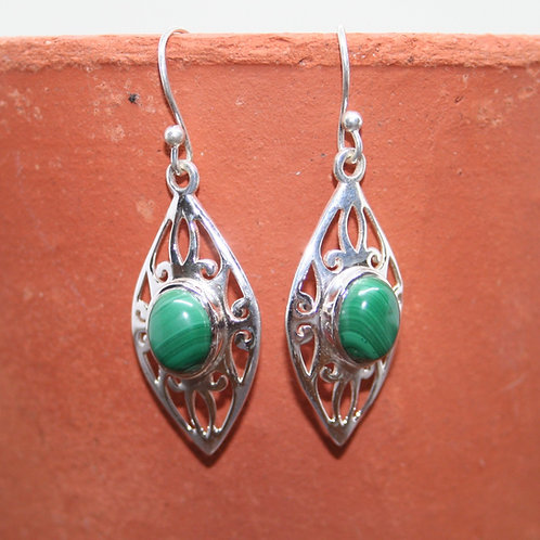 Detailed Diamond Malachite Earrings