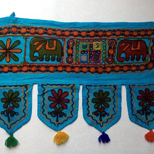 Turquoise Embroidered Elephant Toran