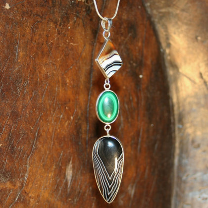 Banded Agate and Malachite long drop pendant