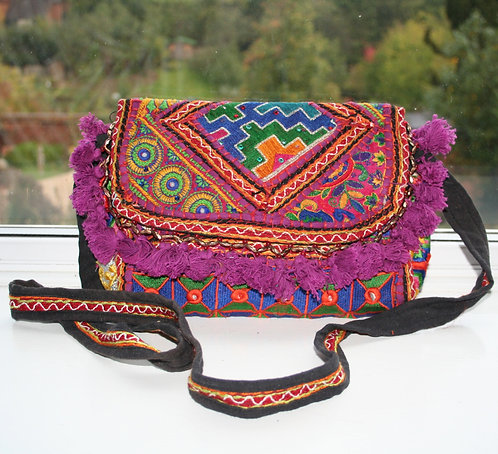 Purple Patchwork Shoulder Bag