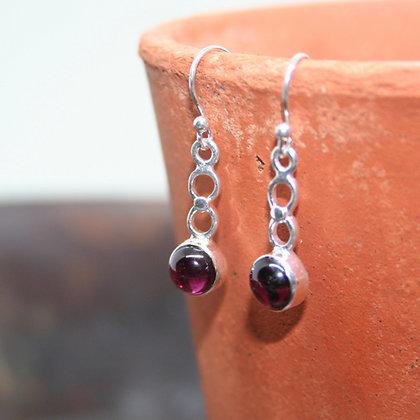Circle Drop Garnet Earrings