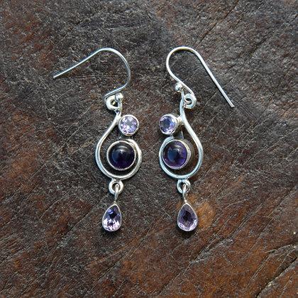 Amethyst Treble Clef Earrings