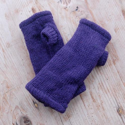 Knitted Fingerless Gloves Purple