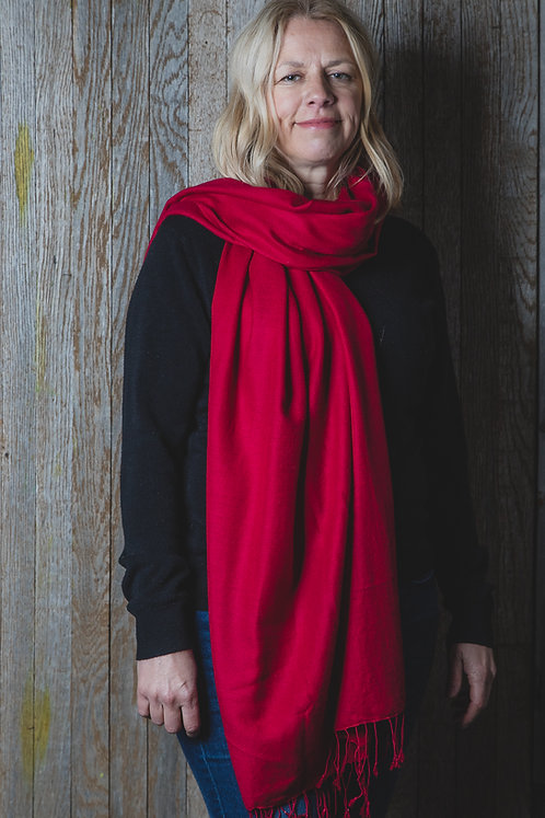 Red Wool and Silk Scarf
