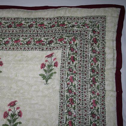 Pink Indian Flower Jaipuri Lap Quilt